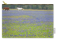 Horses Running In Field Of Bluebonnets Carry-all Pouch by Connie Fox