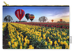Carry-all Pouch featuring the photograph Hot Air Balloons Over Tulip Fields by William Lee