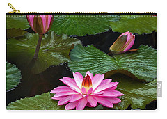 Hot Pink And Green Tropical Waterlilies Carry-all Pouch