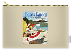 House And Garden Featuring Umbrellas On A Beach Carry-all Pouch