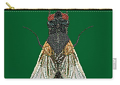 House Fly In Green Carry-all Pouch