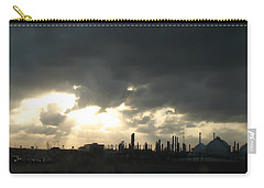 Houston Refinery At Dusk Carry-all Pouch by Connie Fox