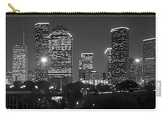 Houston Skyline At Night Black And White Bw Carry-all Pouch