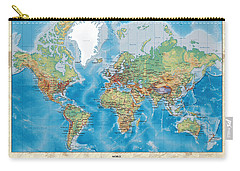 Huge Hi Res Mercator Projection Physical And Political Relief World Map Carry-all Pouch