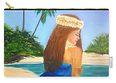 Carry-all Pouch featuring the painting Hula Girl On The Beach by Jenny Lee