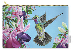 Carry-all Pouch featuring the painting Hummingbird And Fuchsias by Jane Girardot