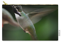 Carry-all Pouch featuring the photograph Hummingbird Male Anna In Flight Over Perch by Jay Milo