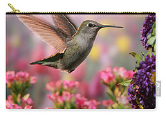 Hummingbird In Colorful Garden Carry-all Pouch