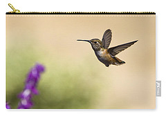Carry-all Pouch featuring the photograph Hummingbird In Flight by David Millenheft