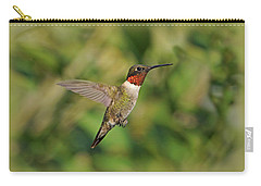 Hummingbird In Flight Carry-all Pouch by Sandy Keeton