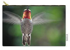 Carry-all Pouch featuring the photograph Hummingbird In Flight Male Anna by Jay Milo