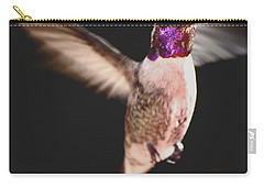 Carry-all Pouch featuring the photograph Hummingbird Male Anna In Flight  by Jay Milo
