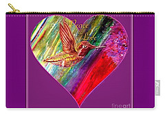 Carry-all Pouch featuring the painting Hummingbird Spreads Peace And Love by Kimberlee Baxter