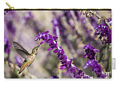 Carry-all Pouch featuring the photograph Hummingbird Collecting Nectar by David Millenheft