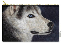Husky Portrait Painting Carry-all Pouch by Rachel Stribbling
