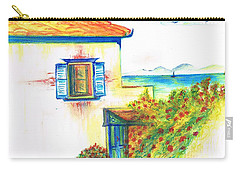 Carry-all Pouch featuring the painting Greek Island Hydra- Home by Teresa White