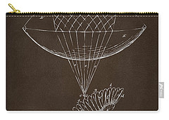 Carry-all Pouch featuring the drawing Icarus Airborn Patent Artwork Espresso by Nikki Marie Smith