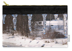Carry-all Pouch featuring the photograph Icicles On The Bridge by Nina Silver
