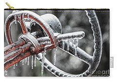 Carry-all Pouch featuring the photograph Icy Allis- Chalmers Tractor by Debbie Green