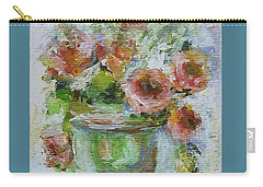 Carry-all Pouch featuring the painting Impressionist Roses 2 by Mary Wolf