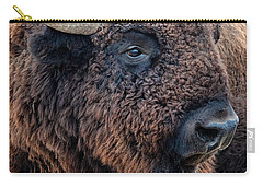 Carry-all Pouch featuring the photograph Olena Art Bison The Mighty Beast Bison Das Machtige Tier North American Wildlife  by OLena Art Brand