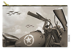 Indian 841 And The B-17 Panoramic Sepia Carry-all Pouch