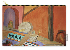 Carry-all Pouch featuring the painting Indian Blankets Jars And Drums by Ellen Levinson