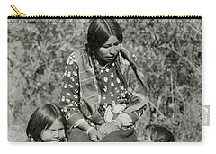 Carry-all Pouch featuring the photograph Indian Mother With Daughters by Charles Beeler