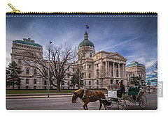 Indiana Capital Building - Front With Horse Passing Carry-all Pouch