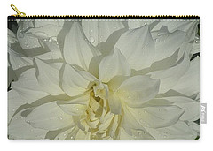 Carry-all Pouch featuring the photograph Innocent White Dahlia  by Susan Garren