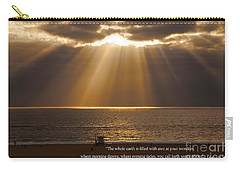 Inspirational Sun Rays Over Calm Ocean Clouds Bible Verse Photograph Carry-all Pouch