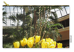 Carry-all Pouch featuring the photograph Interior Decorations Butterfly Gardens Vegas Golden Yellow Tulip Flowers by Navin Joshi