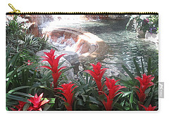 Carry-all Pouch featuring the photograph Interior Decorations Water Fall Flowers Lights Shades by Navin Joshi