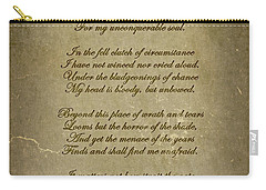 Invictus By William Ernest Henley Carry-all Pouch by Olga Hamilton