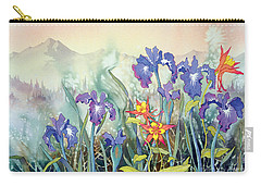 Carry-all Pouch featuring the painting Iris And Columbine II by Teresa Ascone
