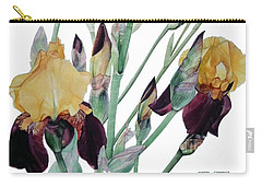 Watercolor Of Tall Bearded Iris In Yellow And Maroon I Call Iris Beethoven Carry-all Pouch