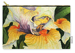 Carry-all Pouch featuring the painting Iris Elegance by Barbara Jewell