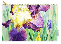 Carry-all Pouch featuring the painting Iris Flowers Garden by Irina Sztukowski