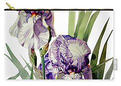 Watercolor Of A Tall Bearded Iris In Violet And White I Call Iris Selena Marie Carry-all Pouch