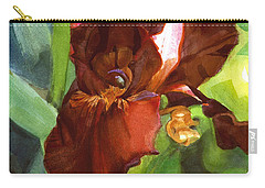 Watercolor Of A Tall Bearded Iris In Sienna Red Carry-all Pouch