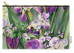 Carry-all Pouch featuring the painting Irises In The Garden by Nadine Dennis