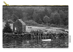 Island Shoreline In Black And White Carry-all Pouch