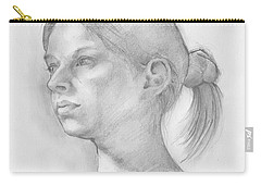 Carry-all Pouch featuring the drawing Issabell by Paul Davenport