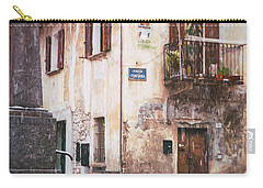 Carry-all Pouch featuring the photograph Italian Square In  Snow by Silvia Ganora