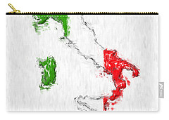 Italy Painted Flag Map Carry-all Pouch by Antony McAulay
