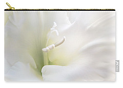 Ivory Gladiola Flower Carry-all Pouch by Jennie Marie Schell