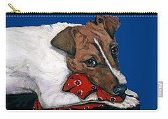 Jack Russell With A Red Bandana Carry-all Pouch