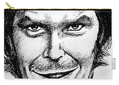Carry-all Pouch featuring the drawing Jack Nicholson #2 by Salman Ravish