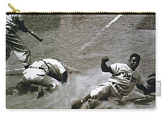Jackie Robinson Sliding Home Carry-all Pouch by R Muirhead Art