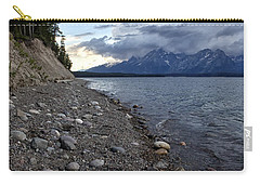 Carry-all Pouch featuring the photograph Jackson Lake Shore With Grand Tetons by Belinda Greb